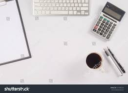 Office Desk Top View Office Desk Table Computer Supplies Paper Stock Photo 377994259