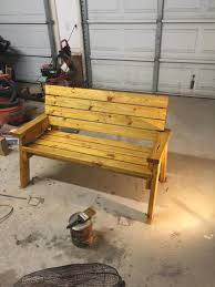 my outdoor bench easy little side project made of treated 2x4s