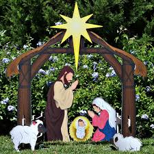 holy complete printed nativity set outdoor nativity