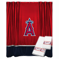 3pc mlb los angeles angels shower curtain and bath towels set