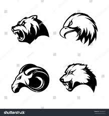 furious bear eagle ram wolf sport stock vector 706799755