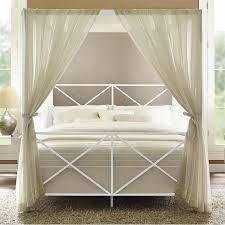 modern romance metal queen canopy bed in white 4068139