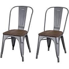 Galvanized Bistro Chair Amazon Com Aeon Garvin 2 Stackable Chairs Galvanized Steel Wood