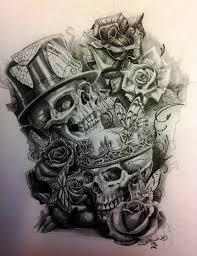 skulls and roses by davemcewanart on deviantart