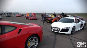 exotic cars lined up 150 supercars in a traffic jam scd secret meet youtube