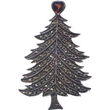 garnet heart topper sterling silver marcasite christmas tree pin