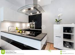modern black and white kitchens black and white kitchen modern interior design stock photo image