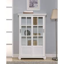 Modern White Bookcases Furniture Varnished White Oak Bookcase With Lift Up Glass Door