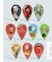 Map Pins Free Time Activities Map Pins Set Stock Vector Art 528194697 Istock