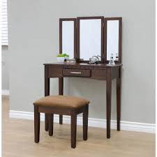 Vanity And Stool Set Megahome 3 Piece Espresso Vanity Set Mh206 The Home Depot