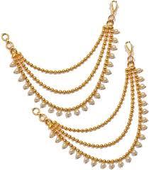jhumka earrings with chain pourni ear chain kaanchain brass clip on earring buy pourni ear