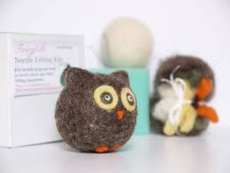 needle felting owl kit inhabitots