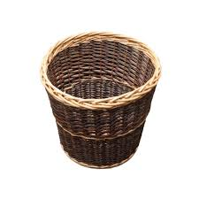 round rustic wicker waste paper bin from the basket company