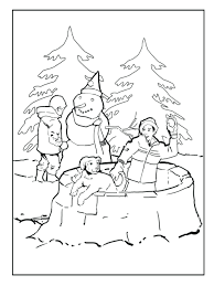 kids making snowman coloring pages winter free sheets