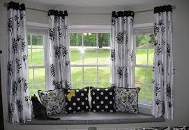 window treatments for bay windows in dining rooms bay windows with black white curtain decor 7842 house