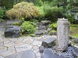 water fountain concrete bamboo stone portland japanese garden