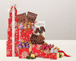 deluxe godiva chocolate gift tower milk and chocolate towers