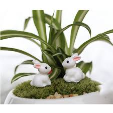 2pc mini rabbit garden ornament animals decor plant pot garden