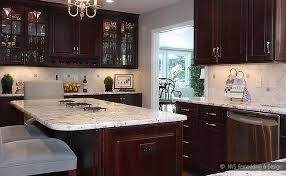 Kitchen With Brown Cabinets Brown And White Rectangle Glass Tiles Travertine Backsplash Tile
