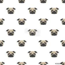 pug wrapping paper seamless vector pattern with pug dog flat icon repeating