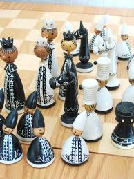 Ceramic Chess Set Vintage Erzgebirge Chess Set Wooden Chess Set By Wilshepherd