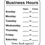 business hours signs inside holiday store hours template free