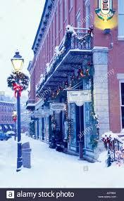Galena Illinois Snow Street Scene With Christmas Decorations In Galena Illinois