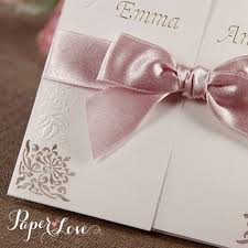 wedding invitations with ribbon embossed laser cut gatefold bordered flowers with ribbon paper