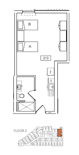 A Floor Plan by Ucsb U0026 Sbcc 2 Bedroom 1 Bath Student Housing With Ocean View
