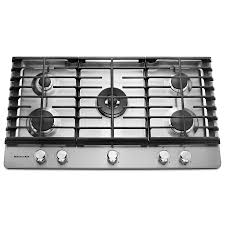 Modular Gas Cooktop Shop Kitchenaid 5 Burner Gas Cooktop Stainless Steel Common 36