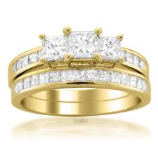 yellow gold bridal sets 14k yellow gold 2 ct princess cut diamond bridal set kevin jewelers