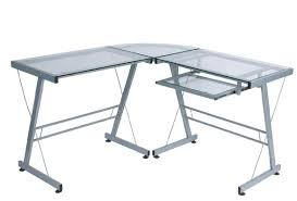 tables engaging glass l shaped computer desk constructed of