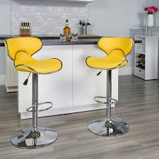 bar height kitchen base cabinets contemporary cozy mid back yellow vinyl adjustable height bar stool w chrome base flash furniture ds 815 yel gg