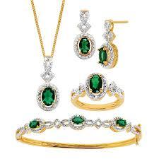 bracelet earrings set images 4 ct created emerald pendant bracelet earring ring set with jpg