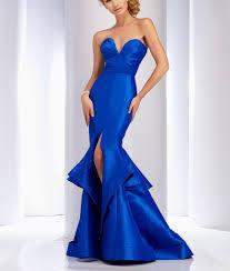 royal blue mermaid evening dress long satin cocktail dress slit