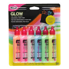 glow in paint tulip 29025 dimensional glow fabric paint 6 pack
