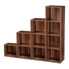 2 4 tier wooden bookcase shelving bookshelf storage furniture cube