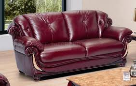 Burgundy Living Room by Leather Stylish Living Room W Cherry Wooden Trims