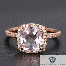 cushion diamond ring modified cushion cut morganite diamond pave halo 14k gold
