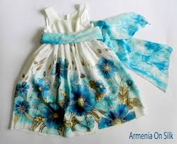 natural silk hand painted dress for girls navy blue