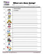 esl kids worksheets present progressive action verbs worksheets