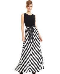 betsy u0026 adam chevron striped gown in black lyst