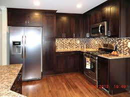 backsplashes kitchen color schemes with dark cabinets mosaic tile