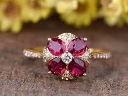 natural ruby rings images Natural ruby engagament ring 14k rose gold diamond wedding band vs jpg