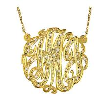 Gold Plated Monogram Necklace Studded With Diamonds 14k Gold Plated Silver Monogram 3 Initial