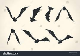 halloween bats background bat silhouettes different poses halloween vector stock vector