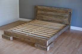 Bed Frames Usa Reclaimed Wood Platform Bed Constructed Of Salvaged Pine Timbers