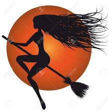 witch silhouette clipart halloween woman vector witch silhouette broom orange moon