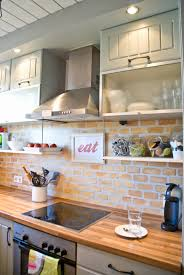 faux brick kitchen backsplash painted faux brick backsplash with wood countertops pudel design