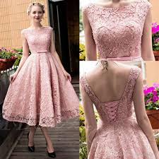 glamorous tea length lace prom dresses 2016 pink cap